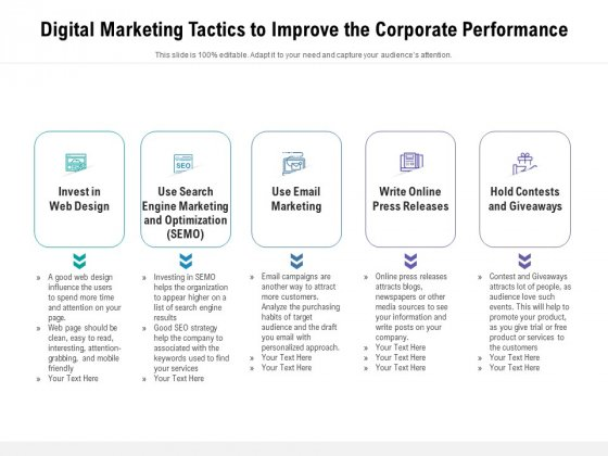 Digital Marketing Tactics To Improve The Corporate Performance Ppt PowerPoint Presentation File Templates PDF
