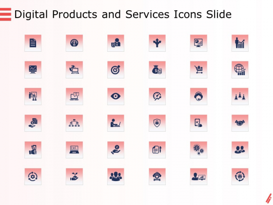 Digital Products And Services Icons Slide Ppt Show File Formats PDF