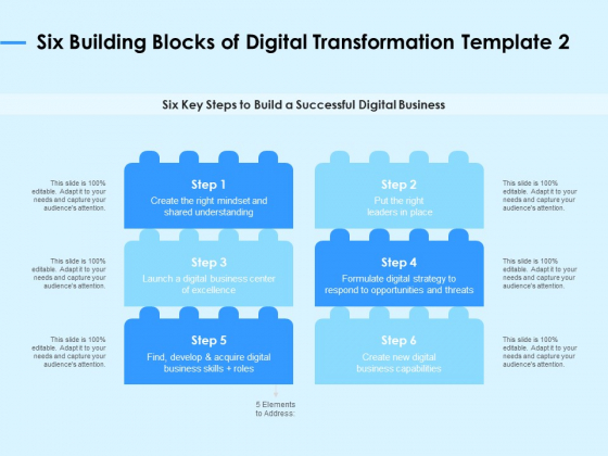 Digital Transformation Strategies Six Building Blocks Of Digital Transformation Business Ppt Slides Templates PDF