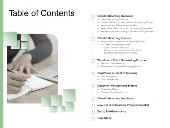 Digitization Of Client Onboarding Table Of Contents Ppt File Template PDF