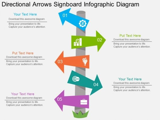 Directional Arrows Signboard Infographic Diagram Powerpoint Template