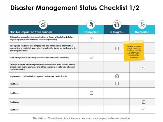 Disaster Management Status Checklist Business Progress Ppt PowerPoint Presentation Infographic Template Grid
