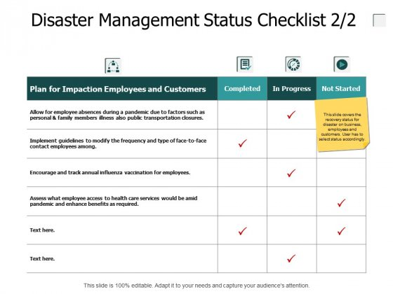 Disaster Management Status Checklist Measuring Ppt PowerPoint Presentation Outline Infographics