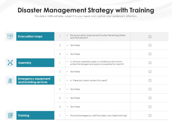 Disaster Management Strategy With Training Ppt PowerPoint Presentation File Structure PDF