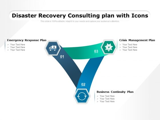 Disaster Recovery Consulting Plan With Icons Ppt PowerPoint Presentation Portfolio Pictures PDF