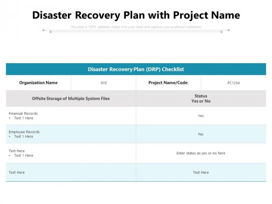 Disaster Recovery Plan With Project Name Ppt PowerPoint Presentation File Visuals PDF