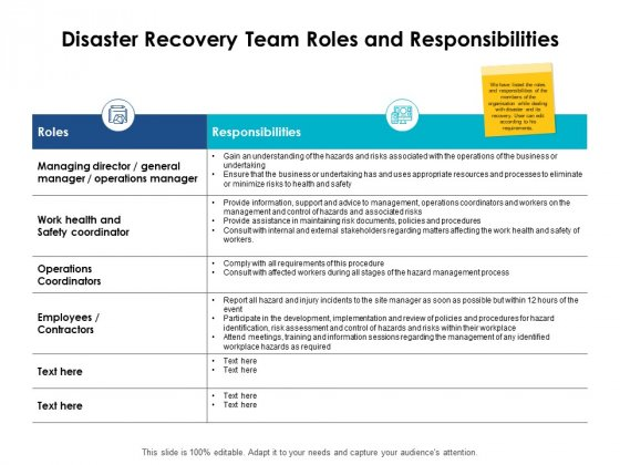 Disaster Recovery Team Roles And Responsibilities Ppt PowerPoint Presentation Outline Aids