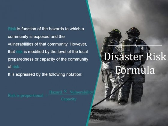 Disaster Risk Formula Ppt PowerPoint Presentation Background Designs
