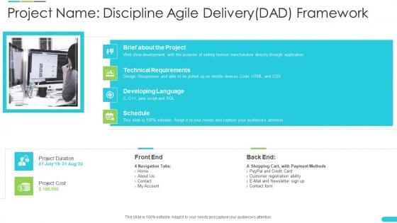 Discipline Agile Delivery Software Development Project Name Discipline Agile Delivery Dad Framework Structure PDF
