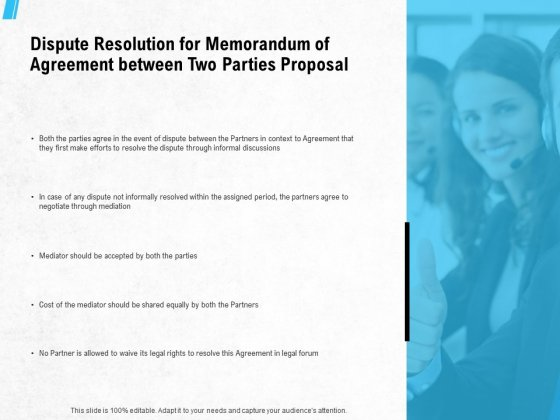 Dispute Resolution For Memorandum Of Agreement Between Two Parties Proposal Ppt PowerPoint Presentation Show Clipart