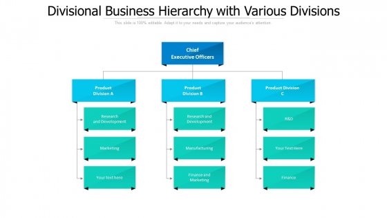 Divisional Business Hierarchy With Various Divisions Ppt PowerPoint Presentation File Background Designs PDF