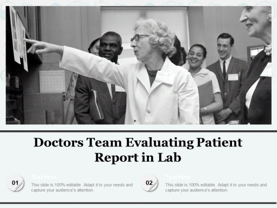 Doctors Team Evaluating Patient Report In Lab Ppt PowerPoint Presentation Model Deck PDF