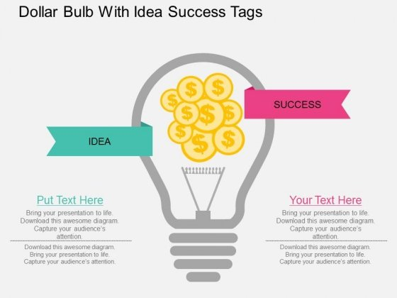Dollar Bulb With Idea Success Tags Powerpoint Template