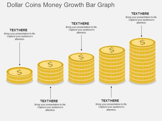 Dollar Coins Money Growth Bar Graph Powerpoint Template
