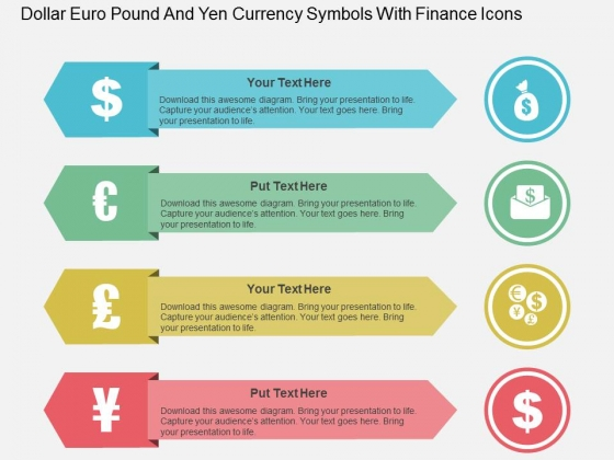 Dollar Euro Pound And Yen Currency Symbols With Finance Icons Powerpoint Template