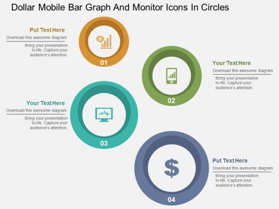 Dollar Mobile Bar Graph And Monitor Icons In Circles Powerpoint Templates