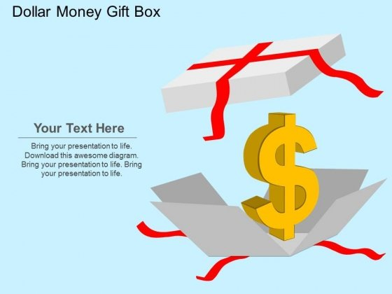 Dollar Money Gift Box Powerpoint Templates