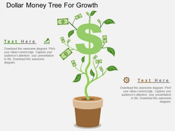 Dollar Money Tree For Growth Powerpoint Templates