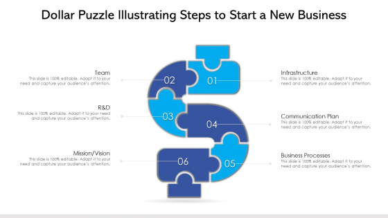 Dollar Puzzle Illustrating Steps To Start A New Business Ppt PowerPoint Presentation File Styles PDF