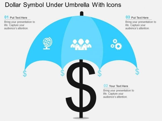 Dollar Symbol Under Umbrella With Icons Powerpoint Templates