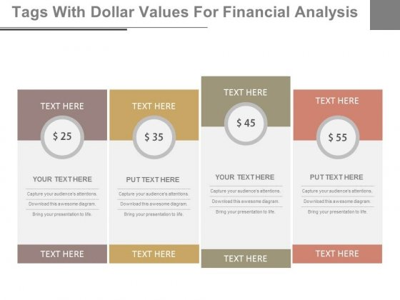 Dollar Value Pricing Table Powerpoint Slides