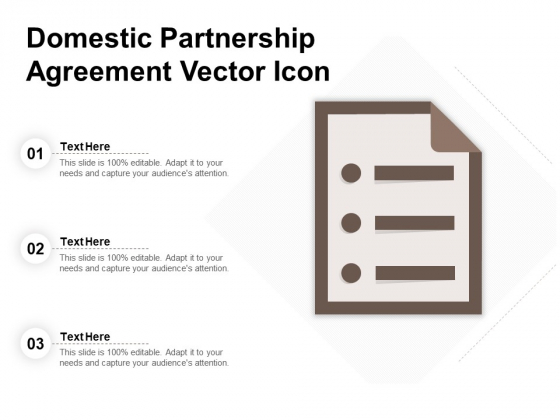 Domestic Partnership Agreement Vector Icon Ppt PowerPoint Presentation Portfolio Designs PDF