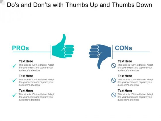 Dos And Donts With Thumbs Up And Thumbs Down Ppt Powerpoint Presentation Icon Format Ideas