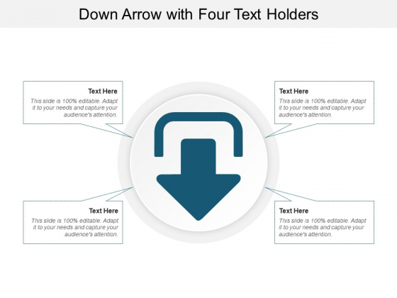 Down Arrow With Four Text Holders Ppt PowerPoint Presentation Outline Design Inspiration