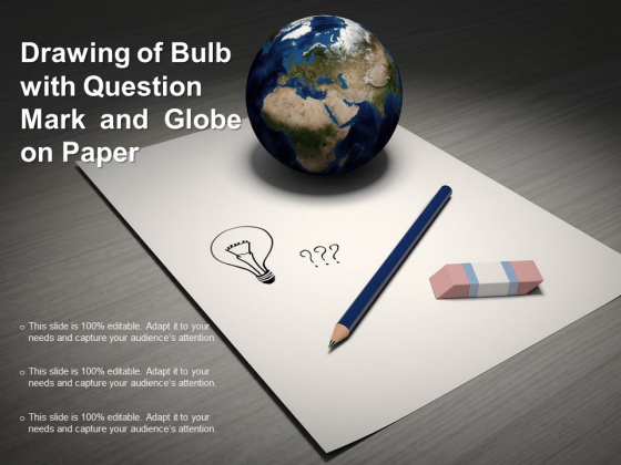 Drawing Of Bulb With Question Mark And Globe On Paper Ppt PowerPoint Presentation Slides Guidelines