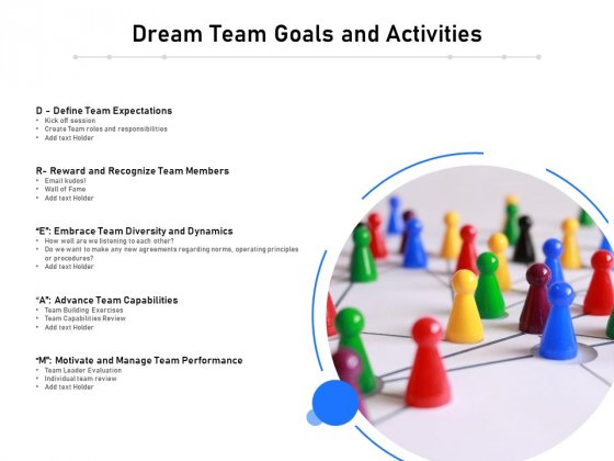 Dream Team Goals And Activities Ppt PowerPoint Presentation Gallery Rules PDF