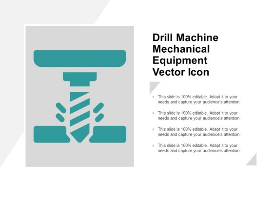 Drill Machine Mechanical Equipment Vector Icon Ppt PowerPoint Presentation Outline Model