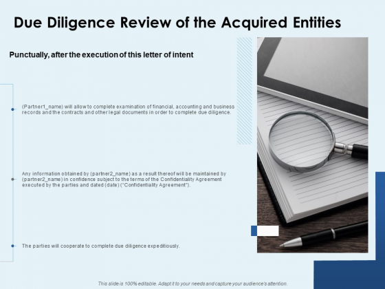 Due Diligence Review Of The Acquired Entities Ppt PowerPoint Presentation File Templates