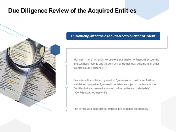 Due Diligence Review Of The Acquired Entities Ppt PowerPoint Presentation Show Good