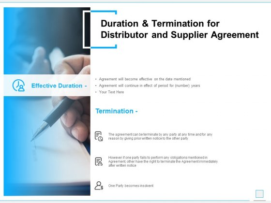 Duration And Termination For Distributor And Supplier Agreement Ppt PowerPoint Presentation Visual Aids Portfolio