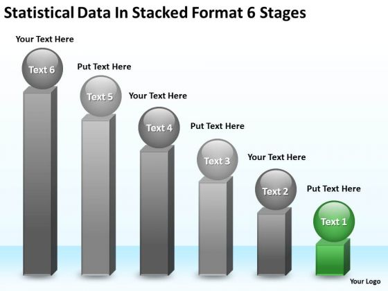 Data In Stacked Format 6 Stages Steps Writing Business Plan PowerPoint Templates