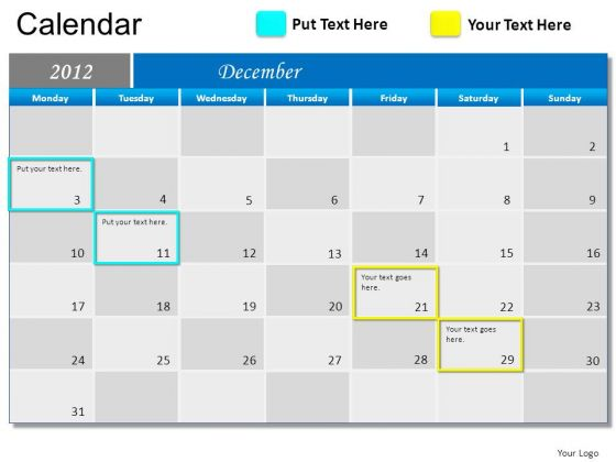 December 2012 Calendar For PowerPoint