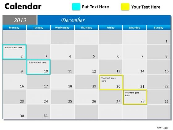December 2013 Calendar PowerPoint Slides Ppt Templates