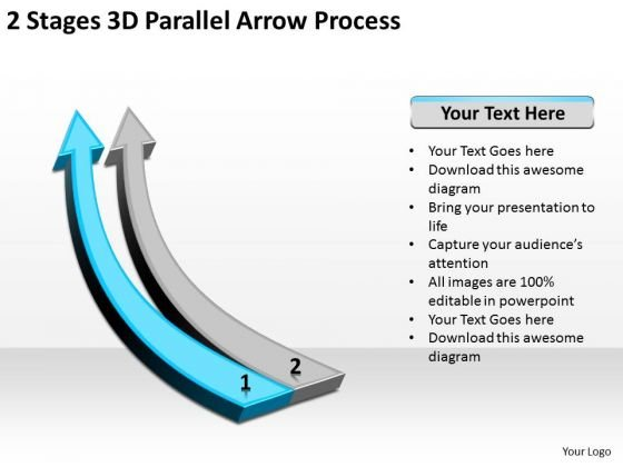 Define Parallel Processing 2 Stages 3d Arrow PowerPoint Templates