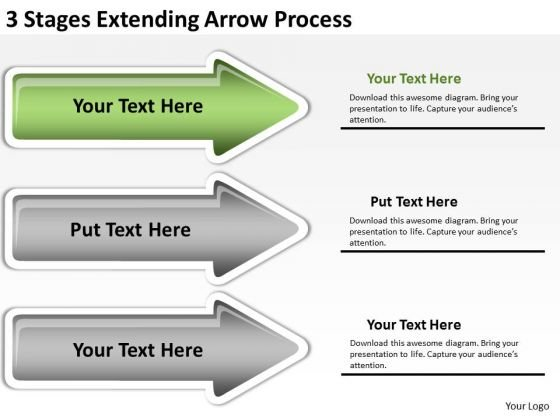 Define Parallel Processing 3 Stages Extending Arrow PowerPoint Slides