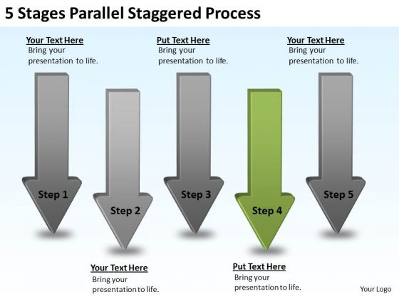 Define Parallel Processing Staggered PowerPoint Templates Backgrounds For Slides