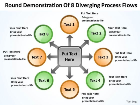 Demonstration Of 8 Diverging Process Flows Circular Layout Diagram PowerPoint Templates