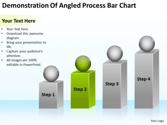 Demonstration Of Angled Process Bar Chart Ppt Make Business Plan PowerPoint Templates