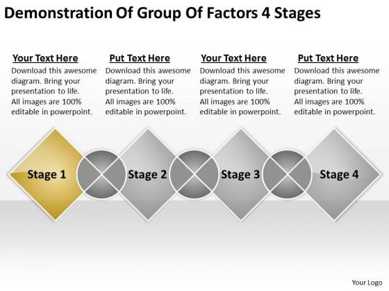 Demonstration Of Group Factors 4 Stages Basic Business Plan Template PowerPoint Slides