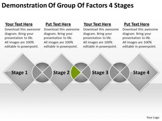 Demonstration Of Group Factors 4 Stages Sample Business Plan Outline PowerPoint Templates