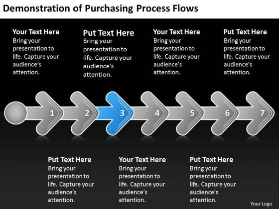 Demonstration Of Purchasing Process Flows Arrow Flowcharts PowerPoint Templates