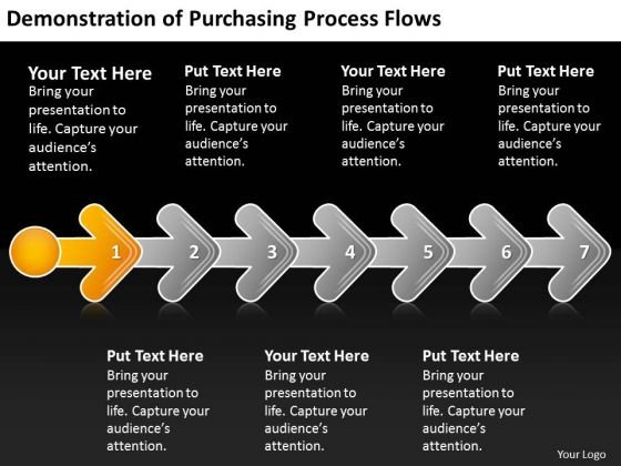 Demonstration Of Purchasing Process Flows Flowcharts PowerPoint Templates