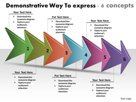Demonstrative Way To Express 6 Concepts Network Mapping Freeware PowerPoint Templates