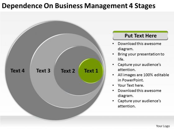 Dependence On Business Management 4 Stages Ppt Plan Templet PowerPoint Slides