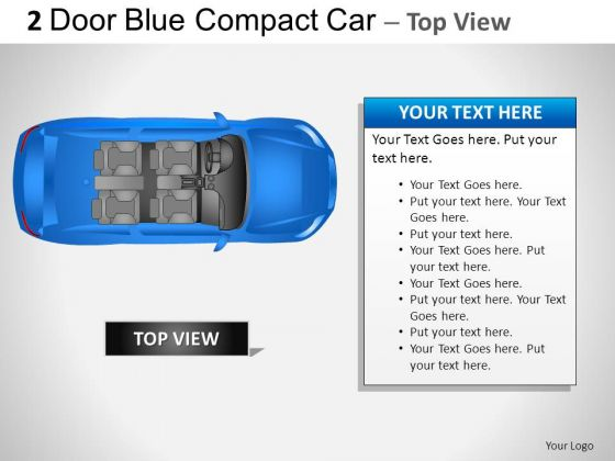 Design 2 Door Blue Car Top PowerPoint Slides And Ppt Diagram Templates