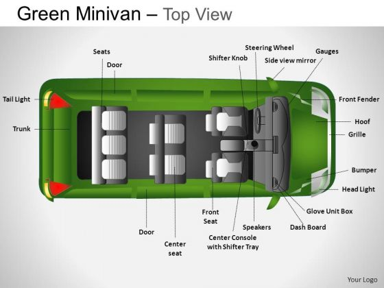 Design Green Minivan Top View PowerPoint Slides And Ppt Diagram Templates
